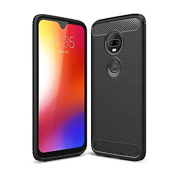 Motorola Moto G7 Plus TPU tapa uksessa hiili kuitu optiikka harjattu suoja kotelo musta