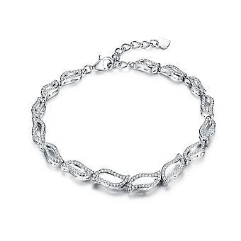 925 Sterling Silver Pave Leaf Design Elegant Bridal Bracelet