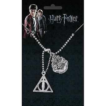 Harry Potter Hogwarts Crest e Deathly Hallows dog tag ciondolo