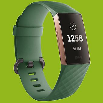 For Fitbit Charge 3 Plastic/Silicone Bracelet for Men/Size L Navy-Green Watch