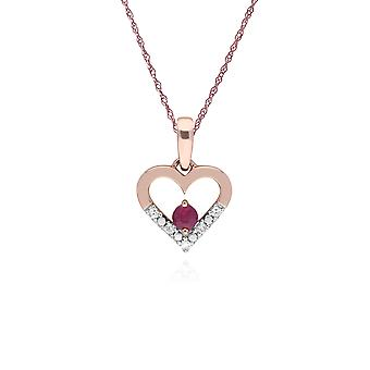 Classic Round Ruby & Diamond Love Heart Shaped Pendant Necklace in 9ct Rose Gold 135P1921019