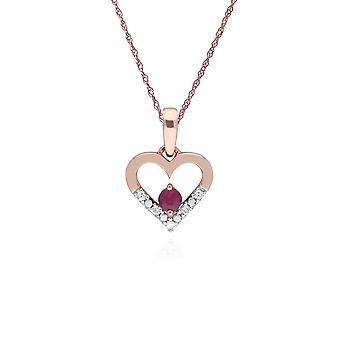 Classic Pyöreä Ruby & Diamond Love Heart muotoinen riipus kaulakoru 9ct Rose Gold 135P1921019