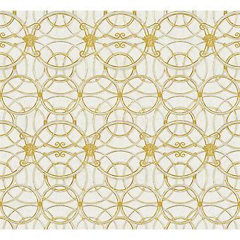 Versace Heritage Creme Silber Tapete Medusa Ornament Metallic Paste Wand