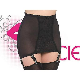 Nancies Lingerie Longline Lace Shaper Girdle with Garters for Stockings