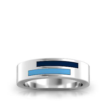 University of Rhode Island Sterling Silber asymmetrische Emaille Ring In blau und Himmel blau