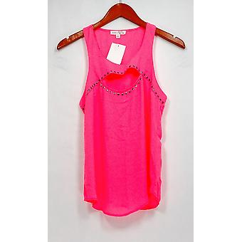 Socialite Top Embellished Scoop Neck Tank w/ Cut Out Detail Pink