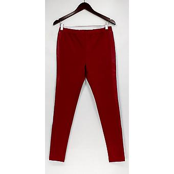 H par Halston Leggings Ponte Pull-On With Leather Trim Brick Red A262980