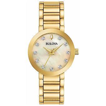 Bulova Women's Gold PVD Plated Crystal Set 97P133 Watch