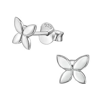 Butterfly - 925 Sterling Silver Plain Ear Studs - W38916x