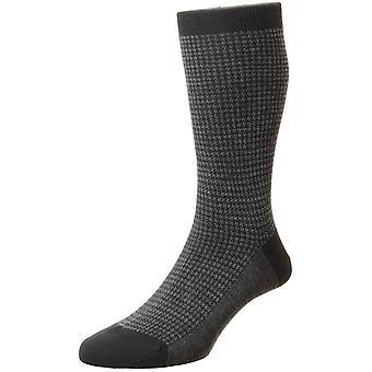 Pantherella Highbury Merino wol Houndstooth sokken-zwart