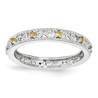 3mm 925 Sterling Silver Polished Prong set Rhodium plated Stackable Expressions Citrine Ring Jewelry Gifts for Women - R