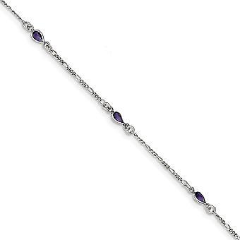 925 Sterling Silver Silver Polido Pulseira de vidro roxo pulseira 9 polegadas Spring Ring Joias para Mulheres