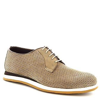 Leonardo Shoes Men's handmade casual lace-ups shoes taupe openwork calf leather