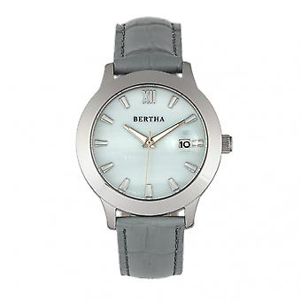 Bertha Eden Mother-Of-Pearl Leather-Band Watch w/Date - Grey/Silver