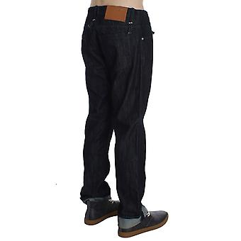 Blue Cotton Regular Straight Fit Relaxed Jeans