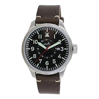 Aristo Men's Quartz Stainless Steel GMT Watch 7H122 Vintage Leather