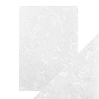 Tonic Studios Craft Perfect A4 Luxury Embossed Card, Ivory Toile, 30 x 21.5 x 0.5 cm
