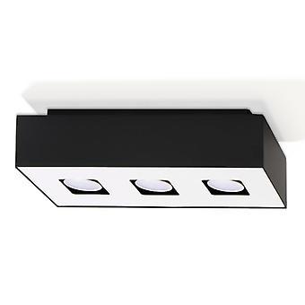 Sollux MONO 3 Light Flush Ceiling Light Black & White SL.0072
