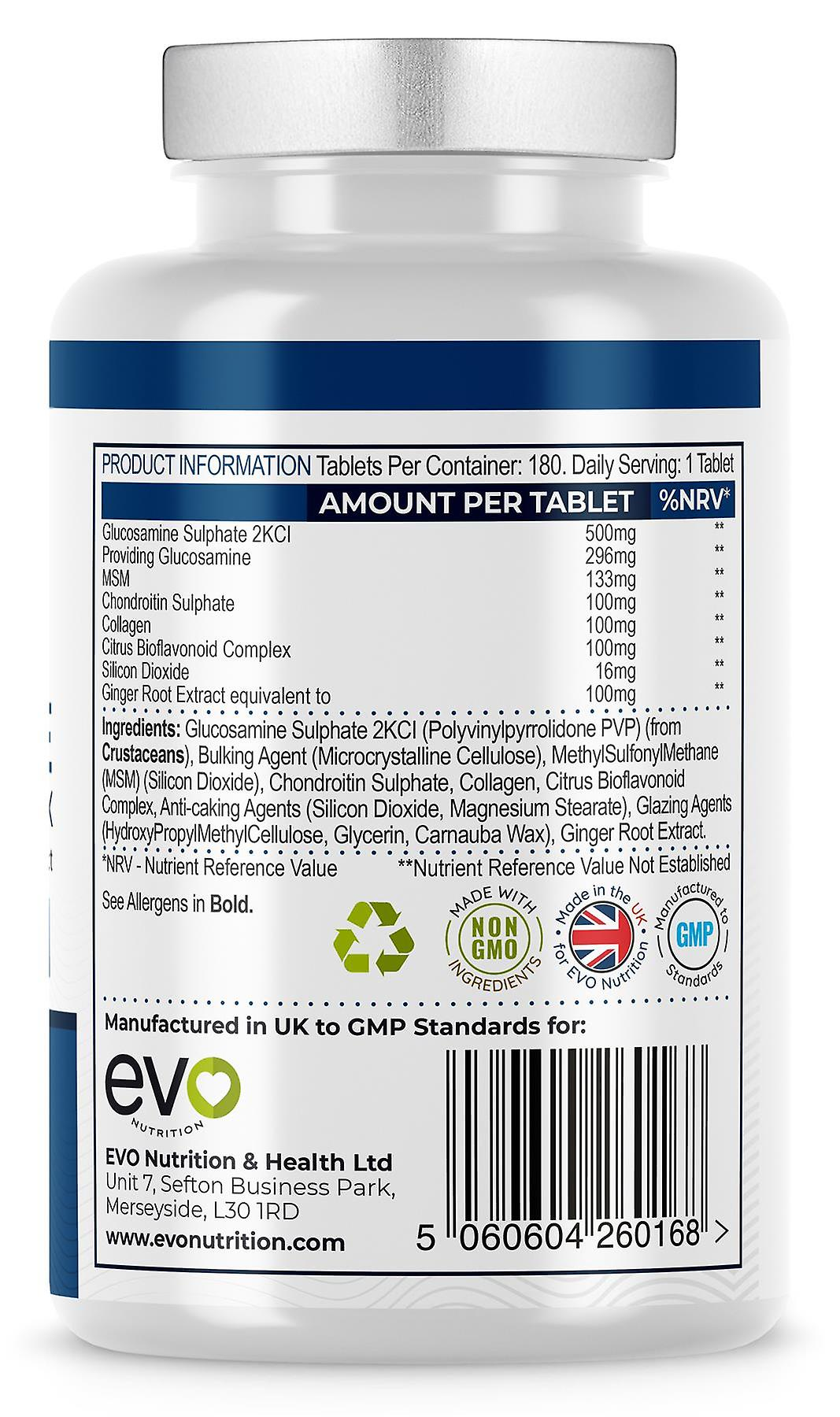 Glucosamine and Chondroitin (180 Tablets) Easy-To-Swallow - Evo Nutrition