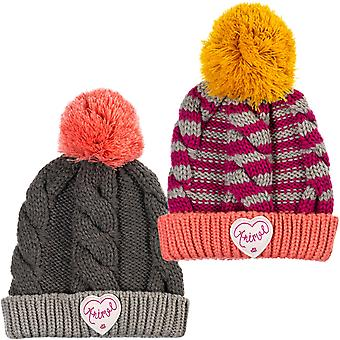 Animal Girls Gretel Knitted Caldo Cavo invernale maglia Roll Up Bobble Beanie - OS