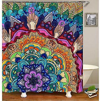 Färgglada Mandala djur målning duschdraperi