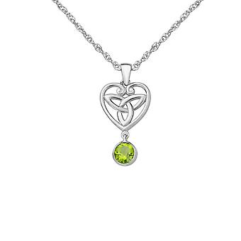 "Celtic Holy Trinity Knot Love Heart Shaped Necklace Pendant - A Peridot Stone - Includes A 20"" Silver Chain"