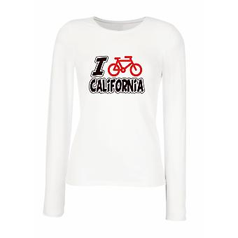 White women's long-sleeved T-shirt wtc1263 i love cycling california