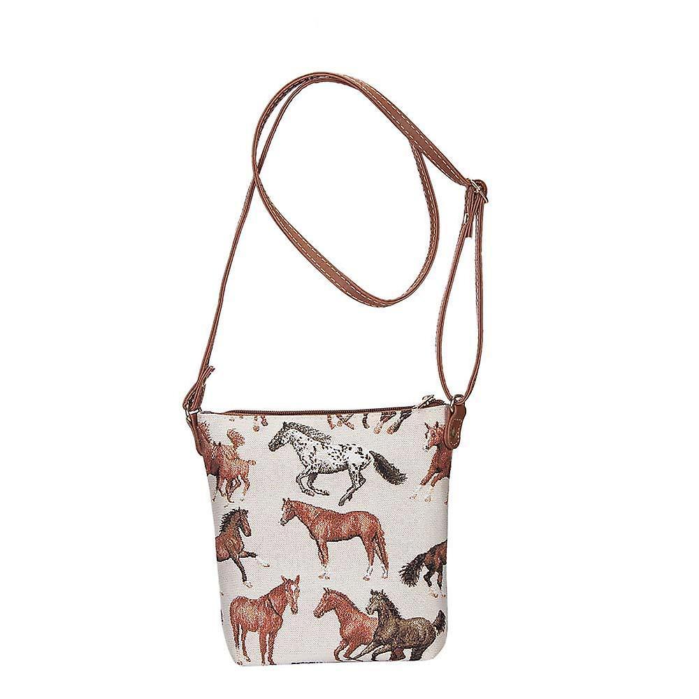 Running horse shoulder sling bag by signare tapestry / sling-rhor