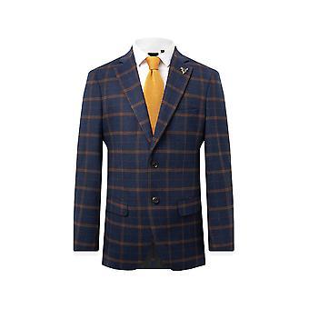 Dobell Mens Navy Tweed Jacket Regular Fit Rust Check