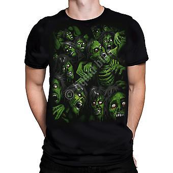 Vloeibare blauw-Zombie stapel-t-shirt