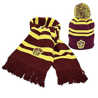 Harry Potter Gryffindor Set Scarf & Beanie with Bobmel Red, Yellow, Embroidered, made of 100% polyacrylic.