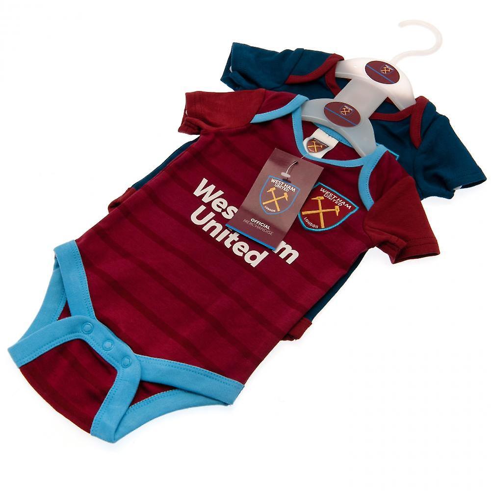 6-9 months 2016//17 West Ham United Baby 2 Pack Bodysuits