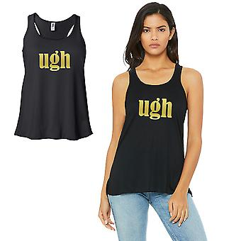Ugh-GOLD Work Out Womens Black Tank Top Vinyl Printed