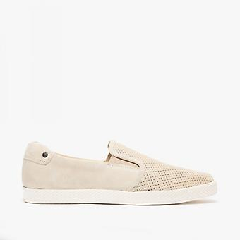 Base London Clipper menns perforert semsket casual sko beige