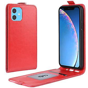 For iPhone 11 tilfelle rød vill hest PU skinn vertikal flip beskyttende deksel med kortspor, magnetisk lukking