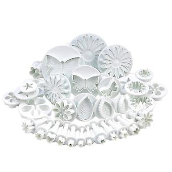 33 Pcs Cake/Cookie Decorating Sugarcraft Cutters & Plungers - Flower Leaf Shapes