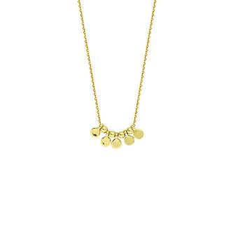 14k Yellow Gold 5 Pc Mini Disk Center Adjustable Necklace 18 Inch Jewelry Gifts for Women