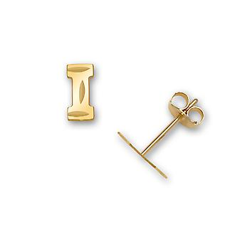14k Yellow Gold Letter Name Personalized Monogram Initial I Stamping for boys or girls Earrings Measures 6x3mm