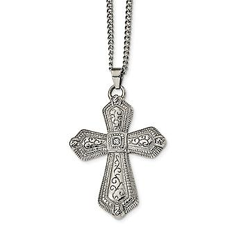 Stainless Steel Polished With Crystal Religious Faith Cross Necklace 24 Inch Jewelry Gifts for Women