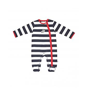 The Essential One Baby Boys Sleepsuit In White And Navy Large Stripe