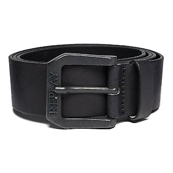 Replay Am2417 Black Leather Belt