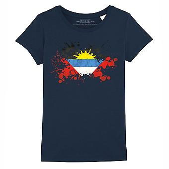 STUFF4 Girl's Round Neck T-Shirt/Antigua and Barbuda Flag Splat/Navy Blue