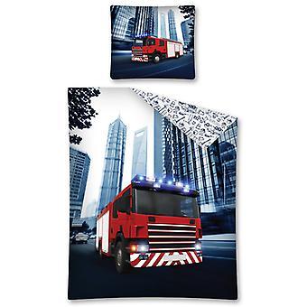 Fire Truck Single Cotton Duvet Cover Set - European Size
