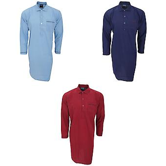 Mens Plain Long Sleeved Woven Pyjama Nightshirt