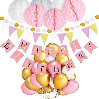 happy Birthday Set With Banner Pennants Pom Pom And Pink White And Gold Balloons - Decoration Birthday Parties - 30 Pieces