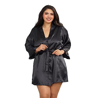 Plus Size Lingerie Sexy Charmeuse Satin Robe Set
