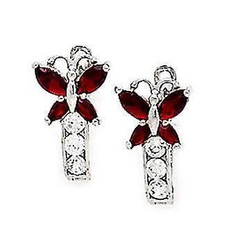 925 Sterling Silver Plated januari Rode CZ Butterfly Angel Wings Leverback Oorbellen maatregelen 12x7mm sieraden geschenken voor Wom