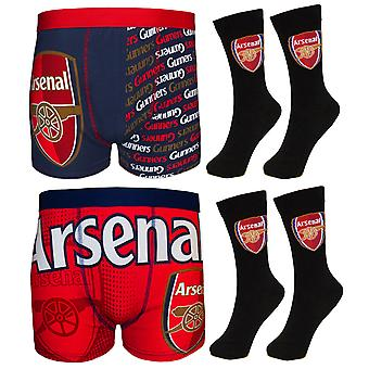 Arsenal FC Official Football Gift Mens Crest Socks & Boxer Shorts