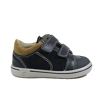 Ricosta Timmy 2622000-181 See Navy/Brown Nubuck Leather Boys Rip Tape Shoes
