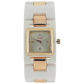 Mab London Ladies Silver Dial White Plastic & Rose Goldtone Square Strap Watch